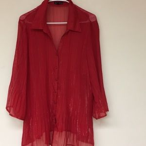 Fashion Bug Sheer Red Blouse Size 2X